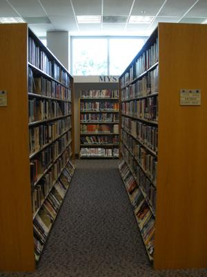 Long shelves of library books