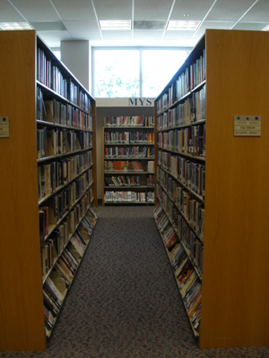 Long shelves of library books