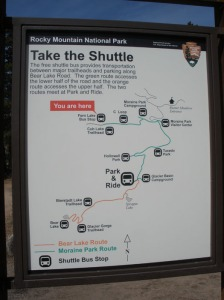 Take  the shuttle in the summer time in Rocky Mountain National Park