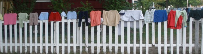 Front yard picket fence is a clothes line