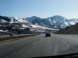 Highway view of mountains on I-80