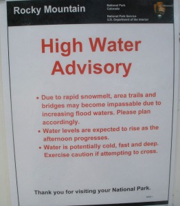 High Water Advisory sign