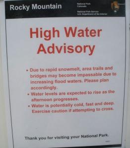 High Water Advisory sign