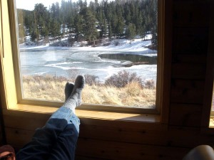 Feet on windowsill at Red Feathers Lake, CO
