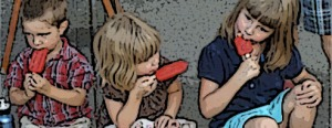 children eating red popsicles