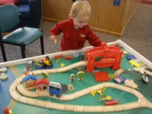 train table at the library