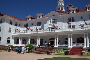 Flags waving at Stanley Hotel - Estes Park, Colorado