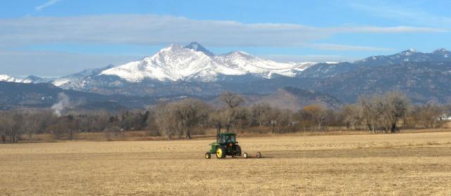 Tractor in field in Longmont Colorado