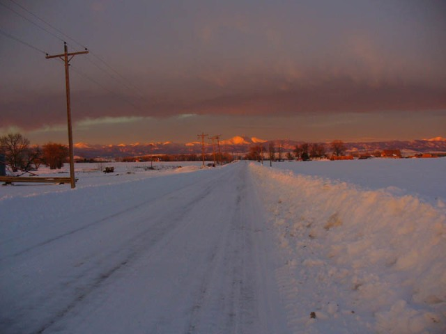 View of Rocky Mountains in winter