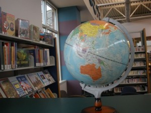 globe at the library