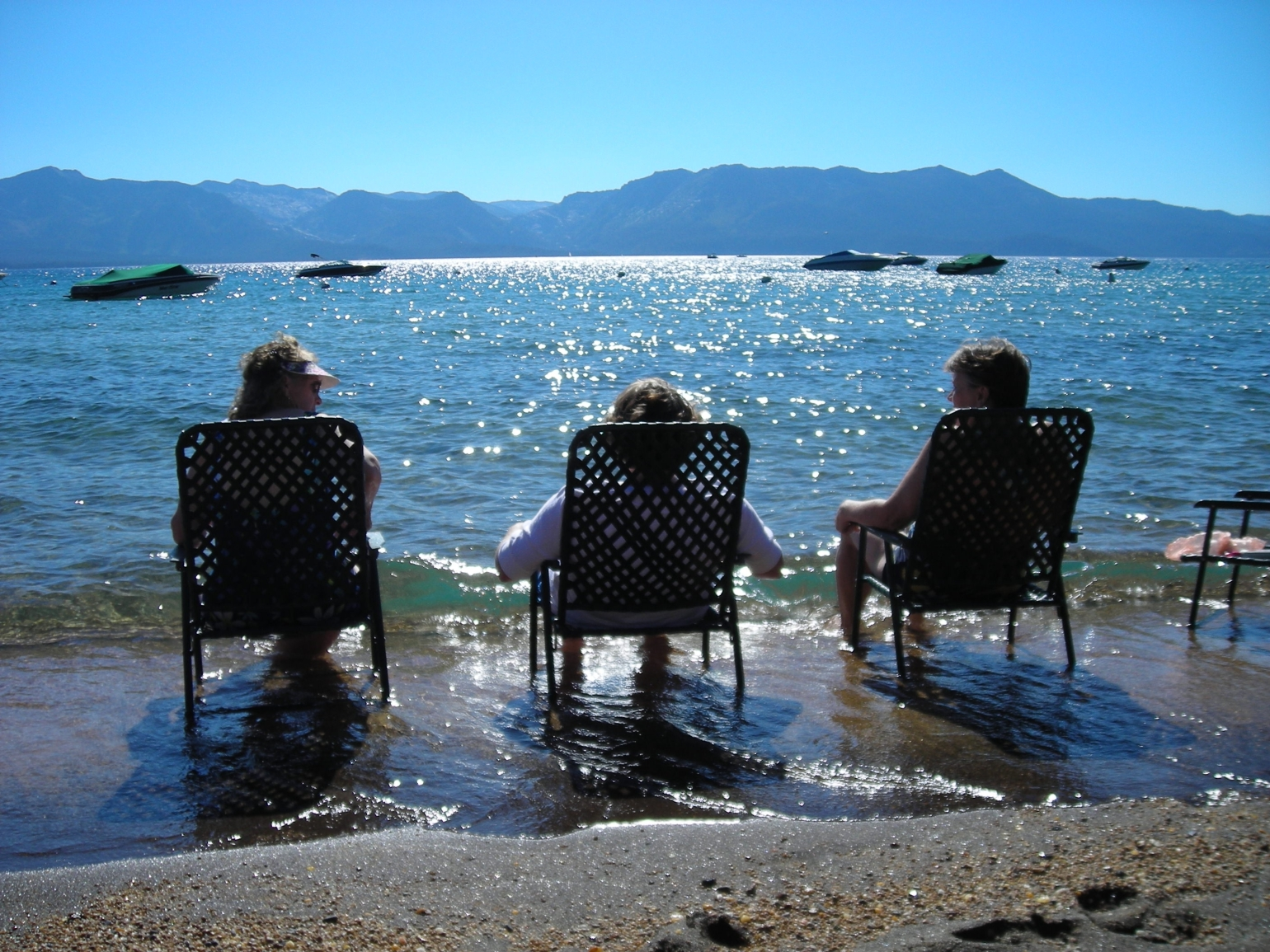 Beach chairs in Lake Tahoe
