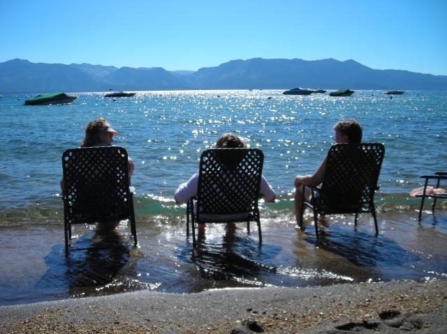 Beach chairs in Lake Tahoe