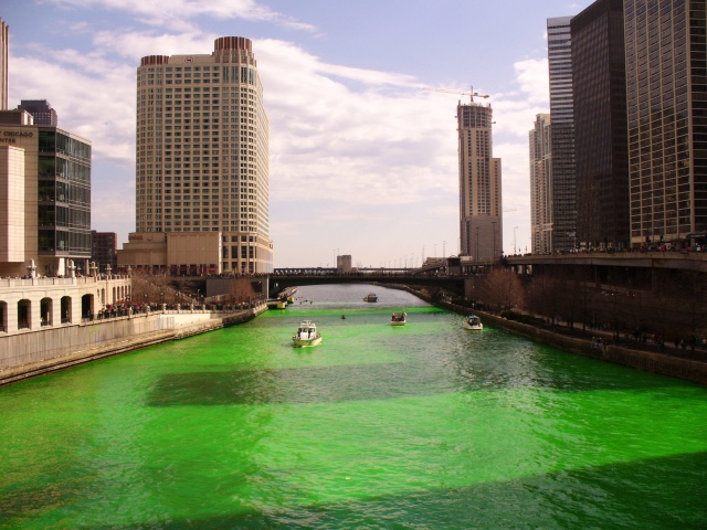 Chicago river on St Patricks Day