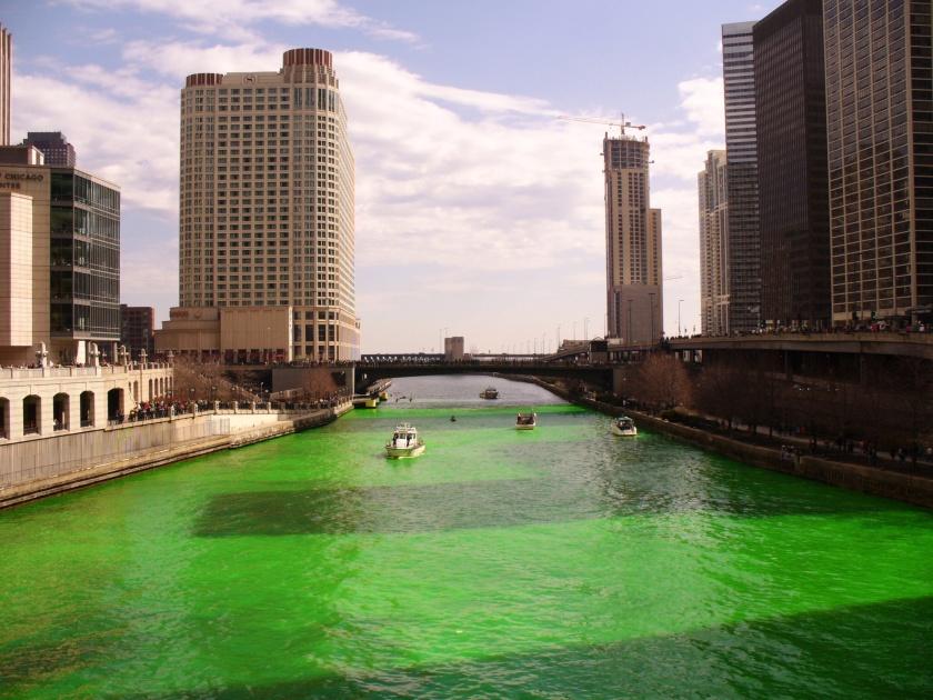 Chicago river on St Patricks Day