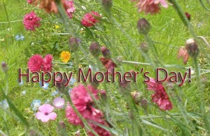 Happy Mother's Day sign surrounded by flowers
