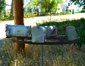 Mailboxes on a dirt road in Colorado