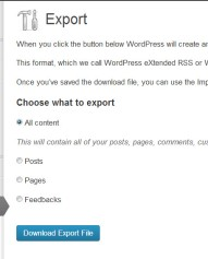 How to export a your blog files in WordPress