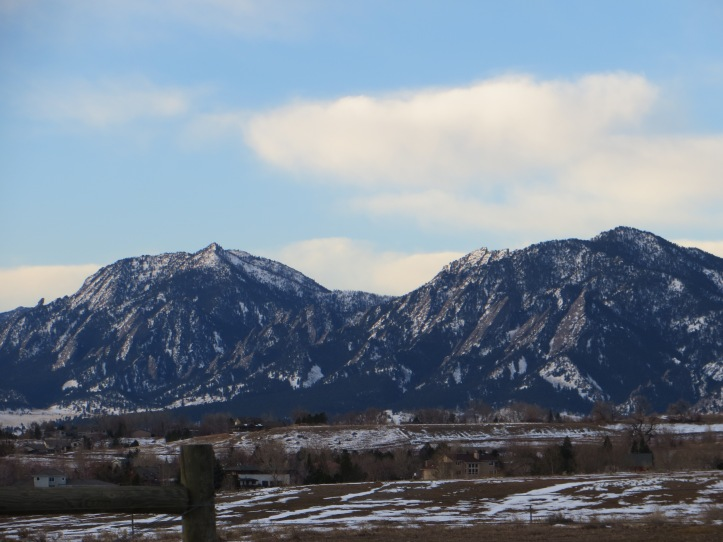 View of the Flatirons in Boulder, CO Feb 2013