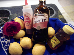 ginger brandy, honey and lemon