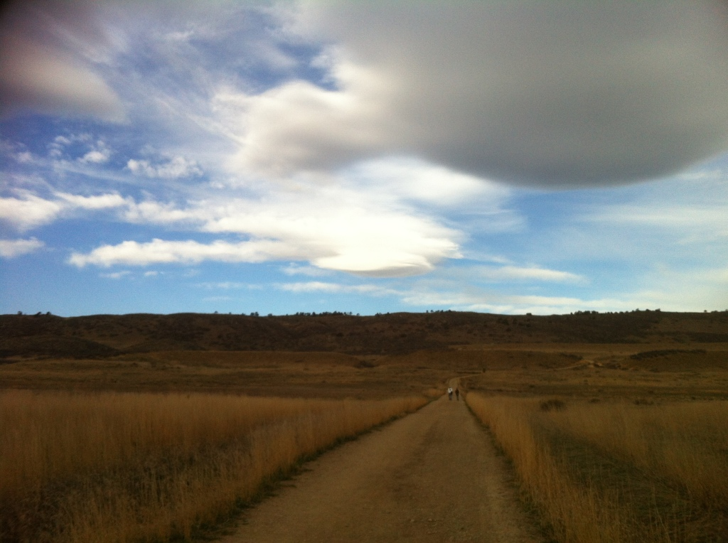 view of dirt path and white clouds on morning walk in Colorado
