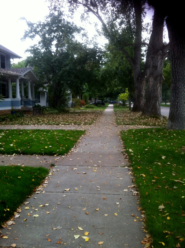 Fort Collins, Colorado neighborhood - house sidewalk