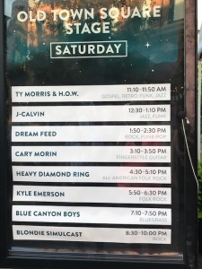 Music lineup at Oak St Stage at Bohemian Nights at NewWestFest