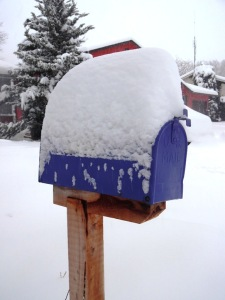 Happily After Retirement snowy mailbox