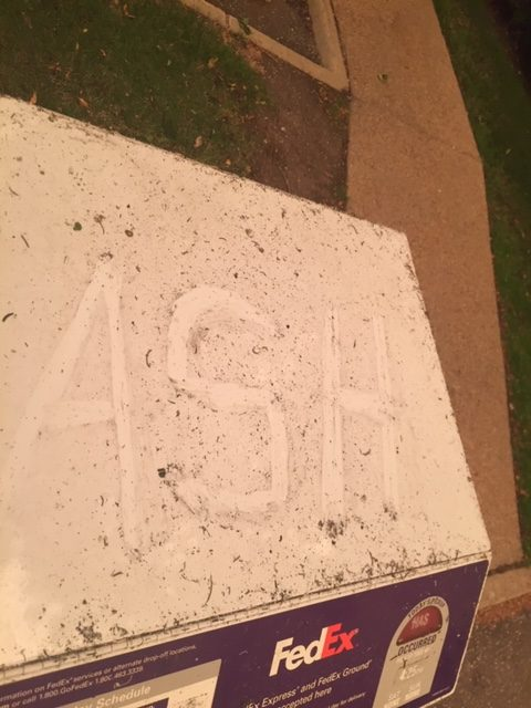 Ash on FedEx box from Cameron Peak wildfires, Sept 2020 Fort Collins, CO